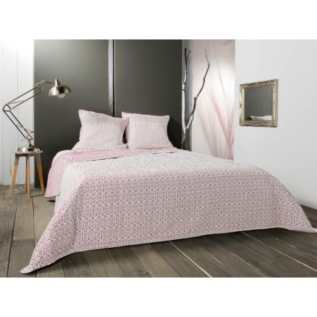 Cuvertura pat moderna Faro alb-rosu