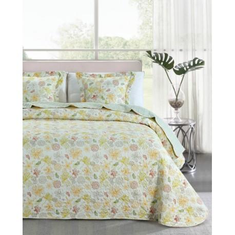 Cuvertura pat cu flori galbene
