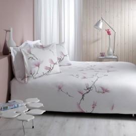 Lenjerie pat alba cu magnolii