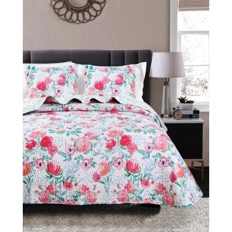 Cuvertura pat dormitor cu flori rosii