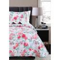 Cuvertura pat 1 persoana cu flori rosii