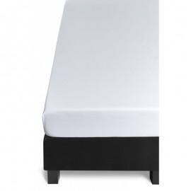 Cearceaf pat alb Jersey 140x200 cm