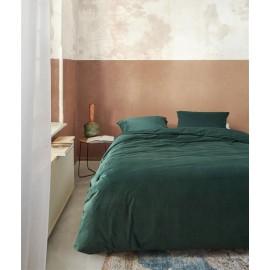 Lenjerie de pat din catifea verde