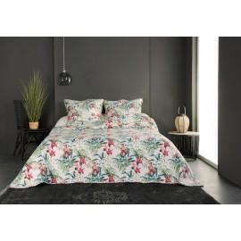 Cuvertura pat Sauvage cu flori alb-rosii