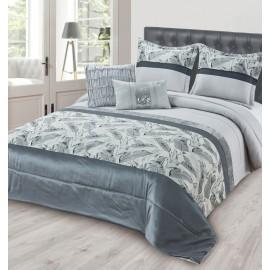 Cuvertura pat dormitor Peacock gri