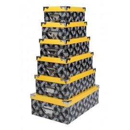 Set cutii decorative Beely cu capac galben