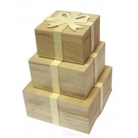 Cutii lemn cadou cu fundita