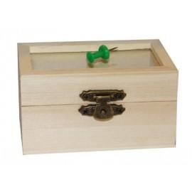Cutie lemn cu capac sticla