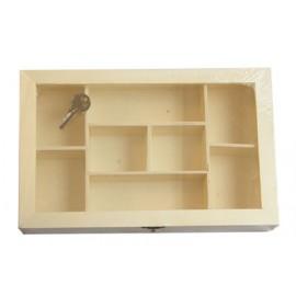 Cutie lemn cu 8 compartimente de depozitare