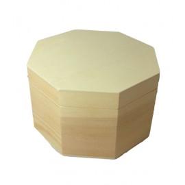 Cutie lemn hexagonala cu capac simplu