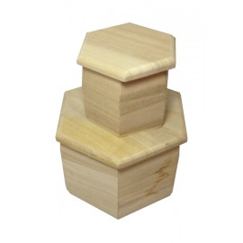 Cutii lemn hexagonale cu capac simplu