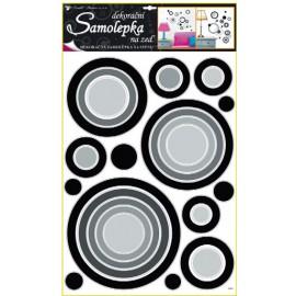 Autocolante cercuri gri-negre pentru perete si mobila