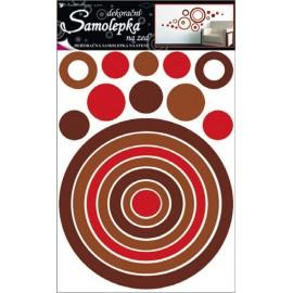 Autocolante cercuri maro si rosu pentru perete si mobila