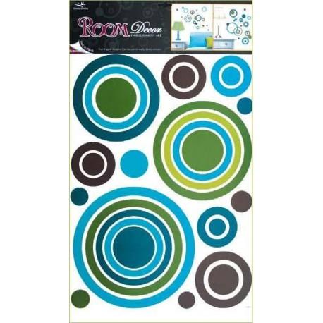 Autocolante cercuri verzi si albastre pentru perete si mobila