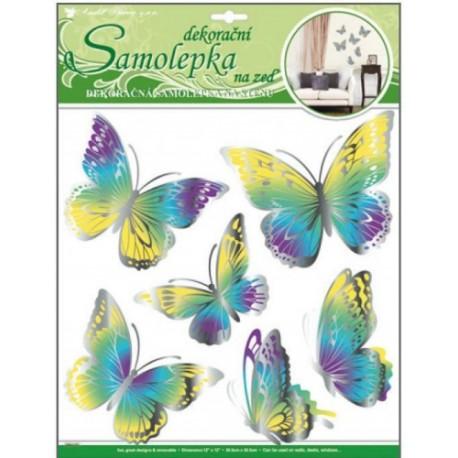 Stickere perete 3D - fluturi galben – mov - turcoaz cu sclipici