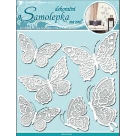 Stickere perete 3D - fluturi dantela albi cu sclipici