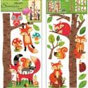 Stickere decorative pentru masurare copii - veverite si vulpi