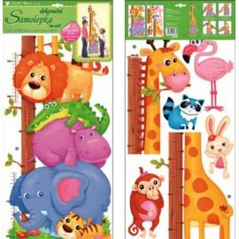 Stickere decorative pentru masurare copii - elefanti, lei si girafe