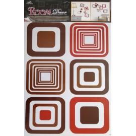 Stickere decorative pentru perete - patrate maro