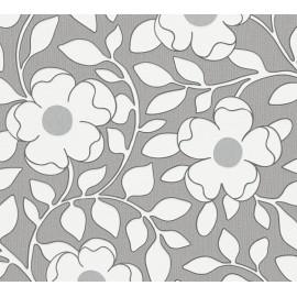 Tapet floral alb-gri