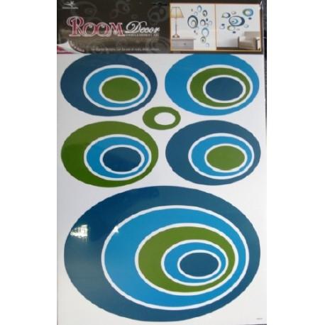 Stickere perete ovale albastre si verzi