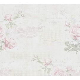 Tapet Shabby Chic cu trandafiri roz