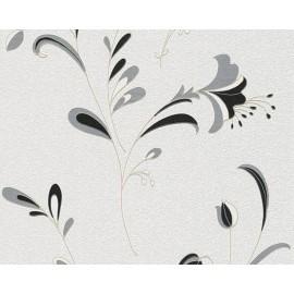 Tapet floral modern alb-gri