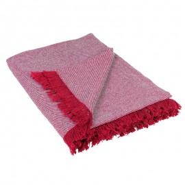 Patura canapea Wooly rosie cu franjuri
