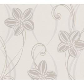 Tapet modern crem cu flori gri