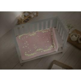Patura copii roz cu chenar fosforescent