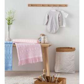 Paturica bebe roz din bumbac