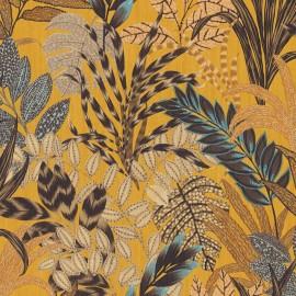 Tapet galben cu plante exotice