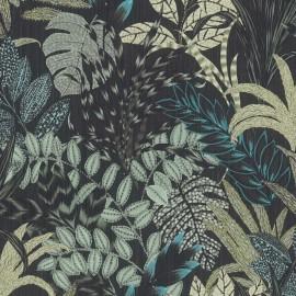 Tapet negru cu plante exotice