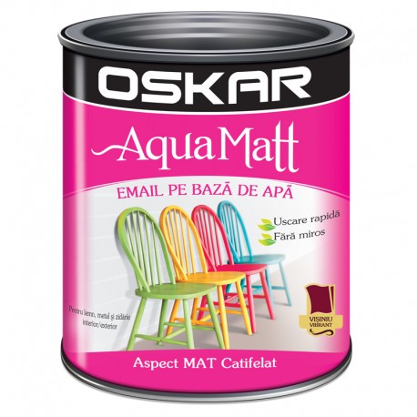 Vopsea acrilica Oskar Aqua Matt Visiniu vibrant 0.6l