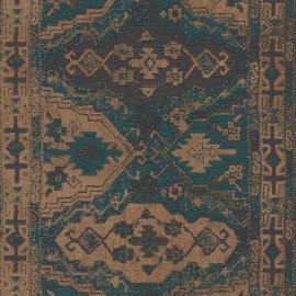 Tapet rustic etno turcoaz-bej