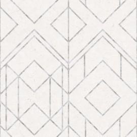 Tapet geometric Ava alb