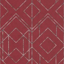 Tapet geometric Ava rosu burgund