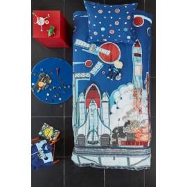 Lenjerie pat baieti cu nave spatiale