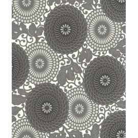 Tapet alb negru Flori stilizate