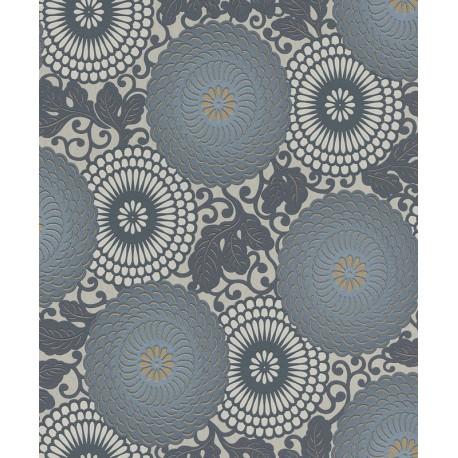 Tapet Flori stilizate gri albastrui