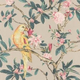 Tapet floral cu papagali