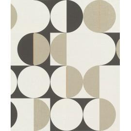 Tapet geometric retro alb-negru-bej