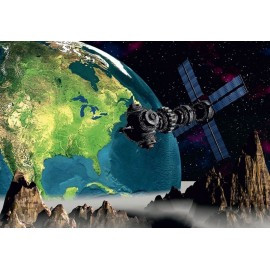 Fototapet Satelit Luna Pamant