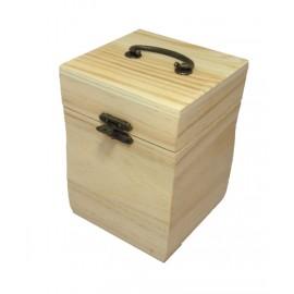 Cutie lemn patrata inalta cu capac