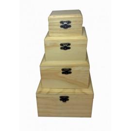 Set 4 cutii lemn patrate cu capac