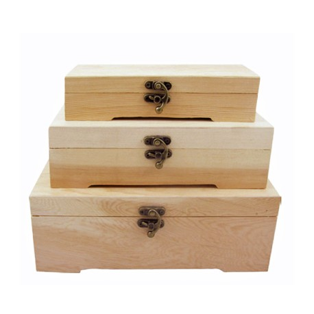 Set 3 cutii lemn dreptungiulare cu capac