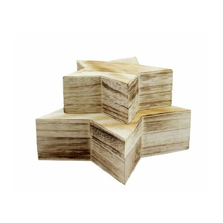 Set 2 cutii lemn format stea cu capac