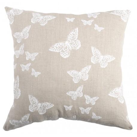 Perna decorativa Lysandra bej cu fluturi