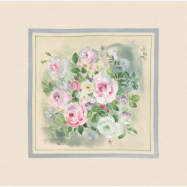 Perna decorativa Rosagathe 3 cu trandafiri alb-roz Shabby Chic