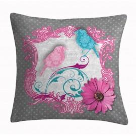 Perna decorativa Colorama 1 cu pasari roz si turcoaz